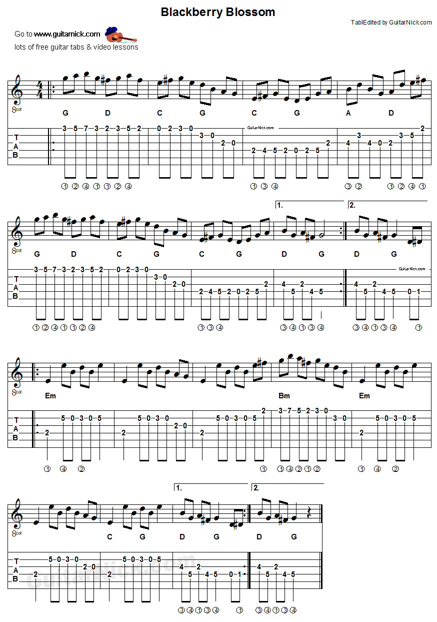 Blackberry Blossom Acoustic Flatpicking Guitar Tab Chords Sheet