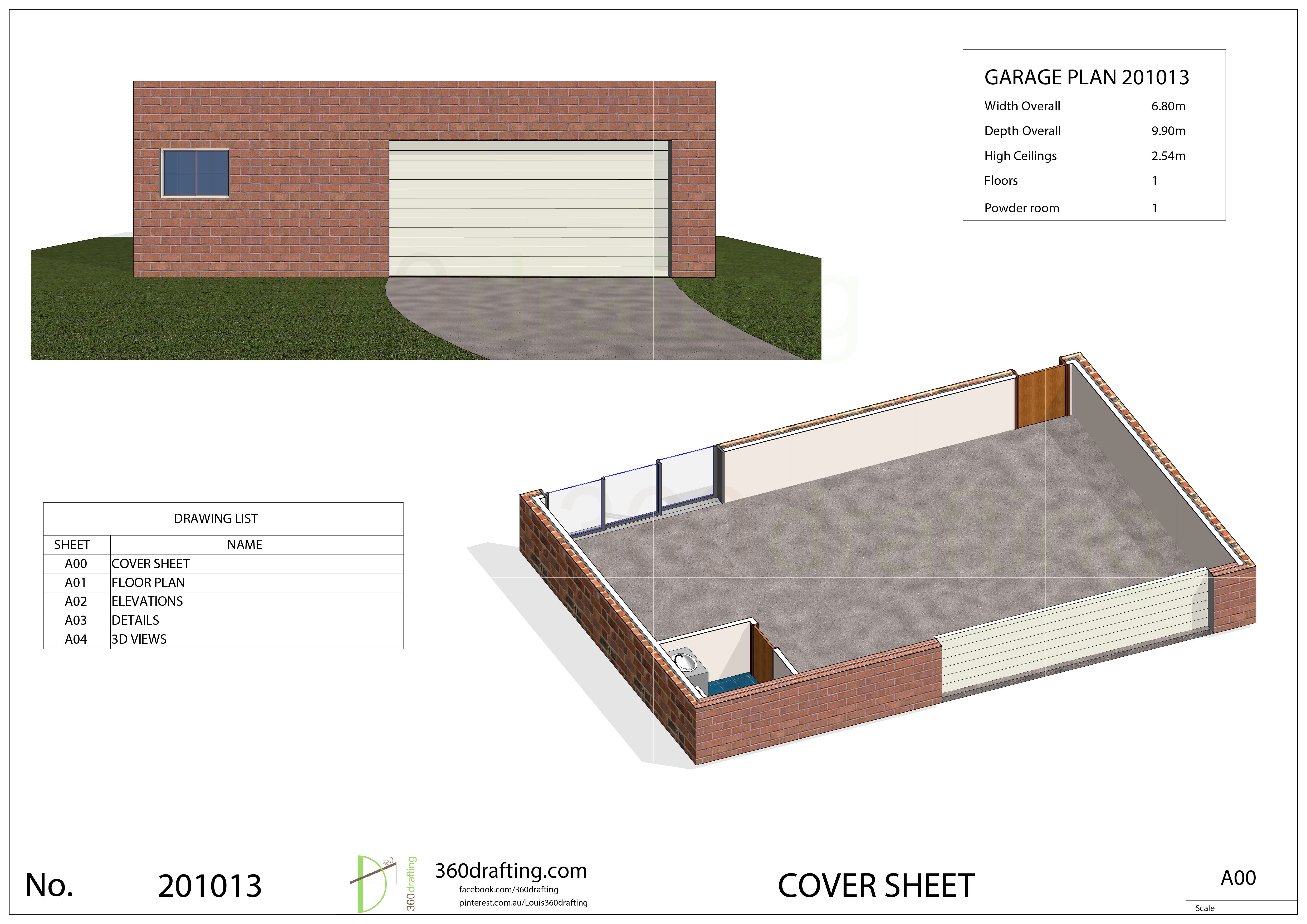 GARAGE PLAN Powder Room pdf floor plan instant CUSTOM plans service
