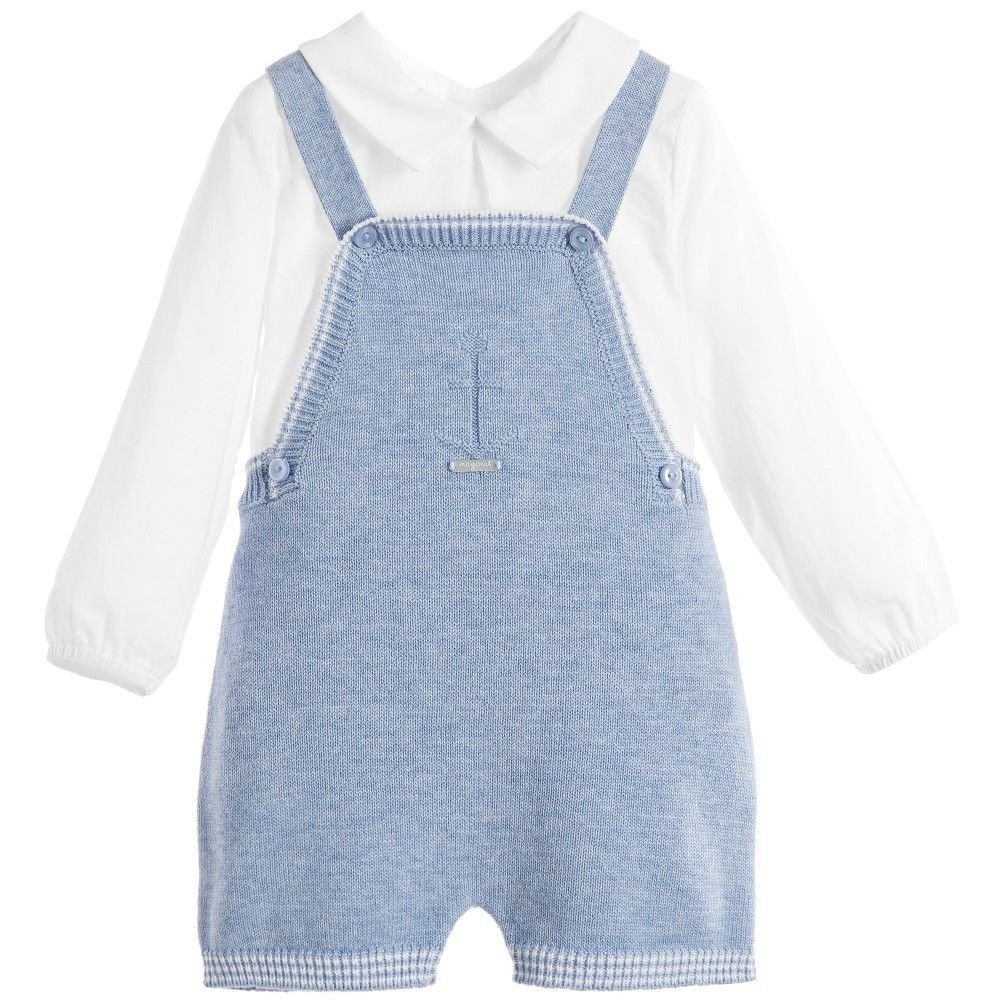 286077ba69f3 Baby Boys 2 Piece Blue Knitted Dungarees Set