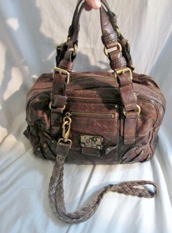 JUICY COUTURE Stud Leather Satchel Shoulder Bag Boho BROWN Hipster Western Style