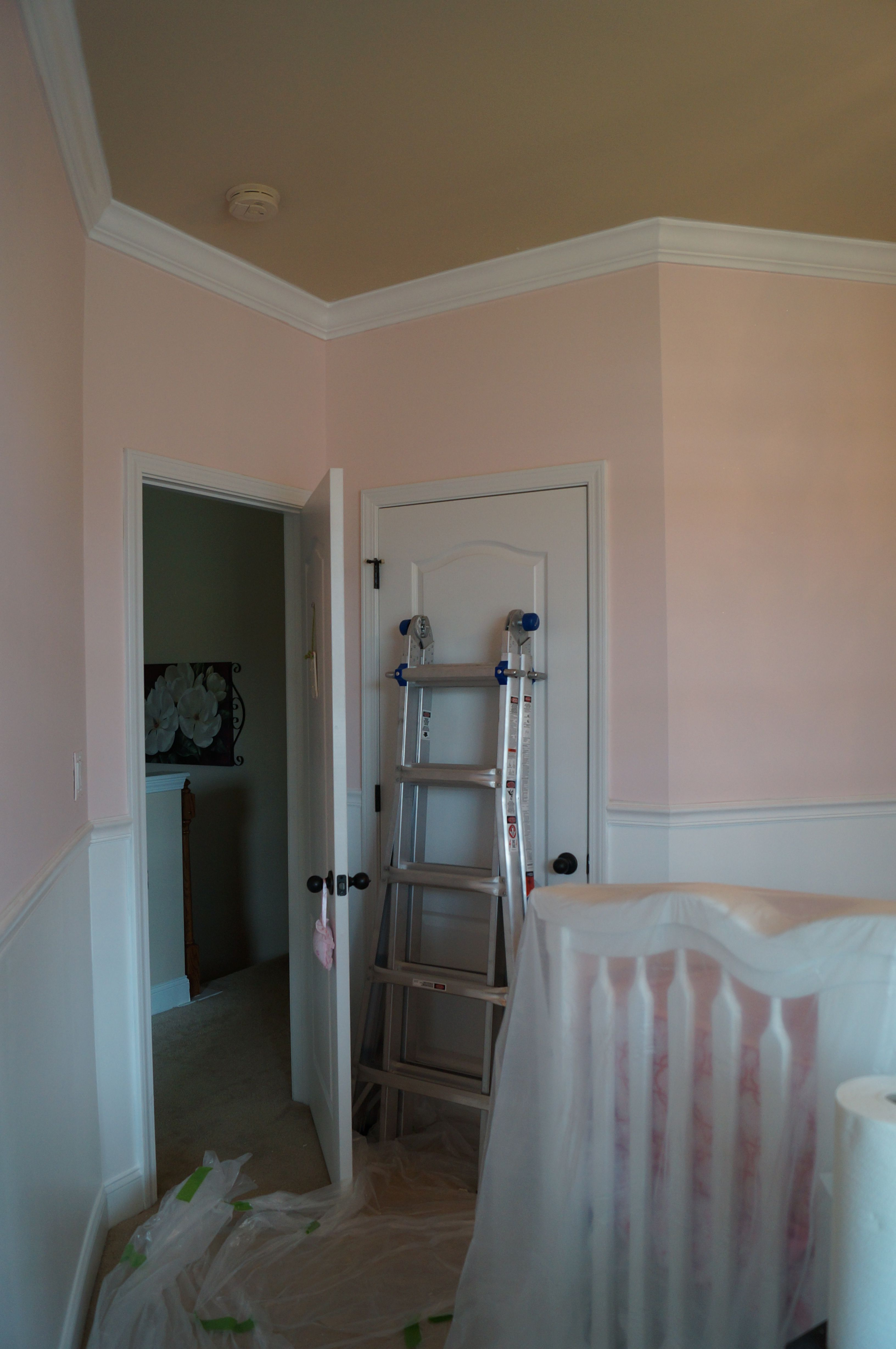 "Baby room decor Add chair rail and crown molding for a ""princess"