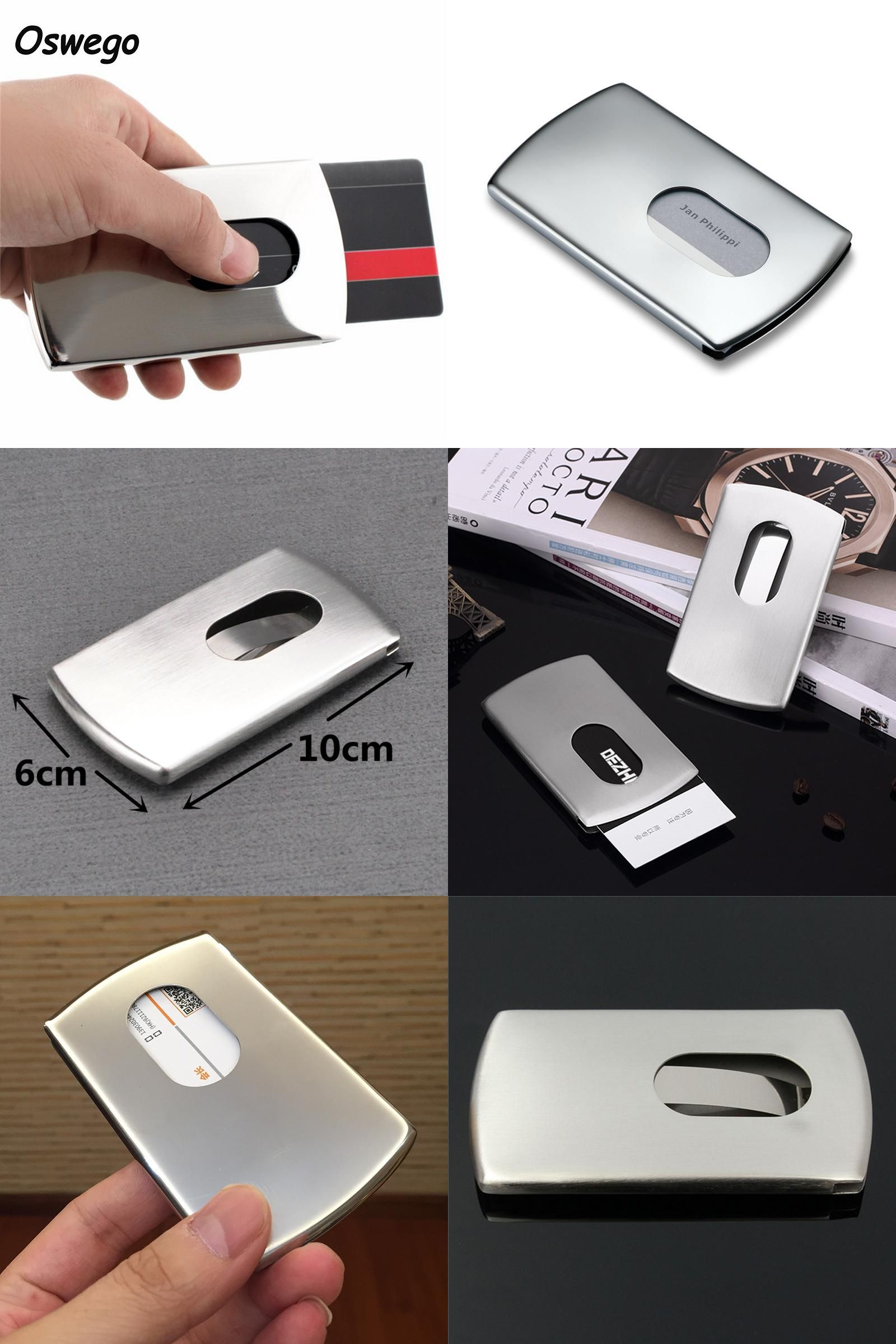 Visit to buy 304 stainless steel thumb slide out business cards visit to buy 304 stainless steel thumb slide out business cards holder card pocket colourmoves