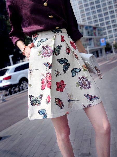 White Floral-print High Rise Mini Skirt