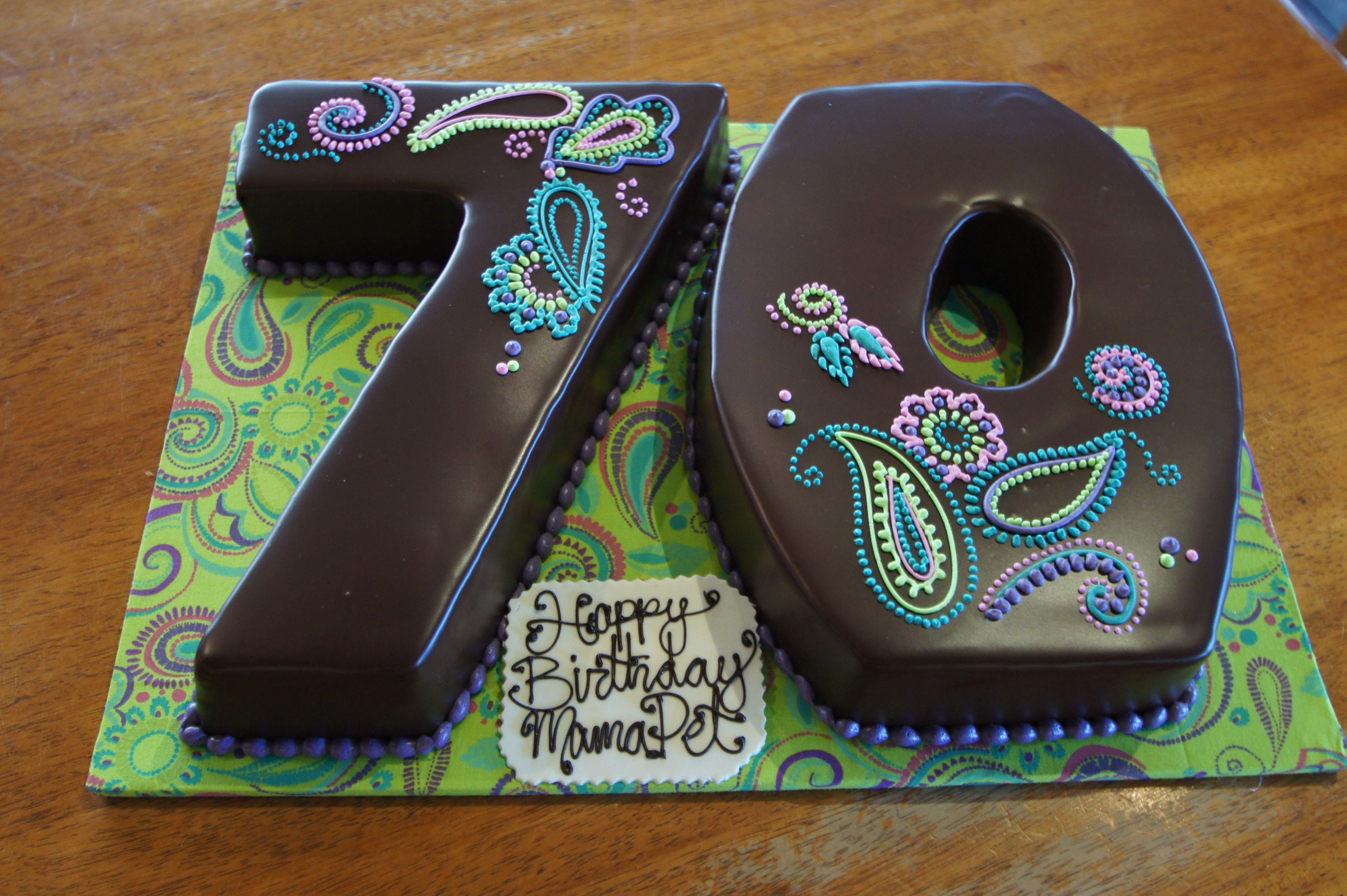 Number 70 Shaped Chocolate Birthday Cakes With Colorful Paisley