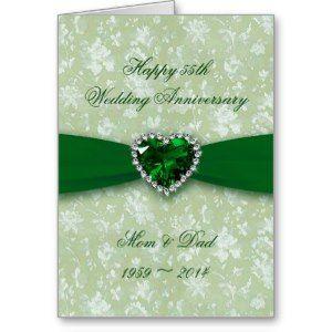 Damask 55th Wedding Anniversary Greeting Card Em