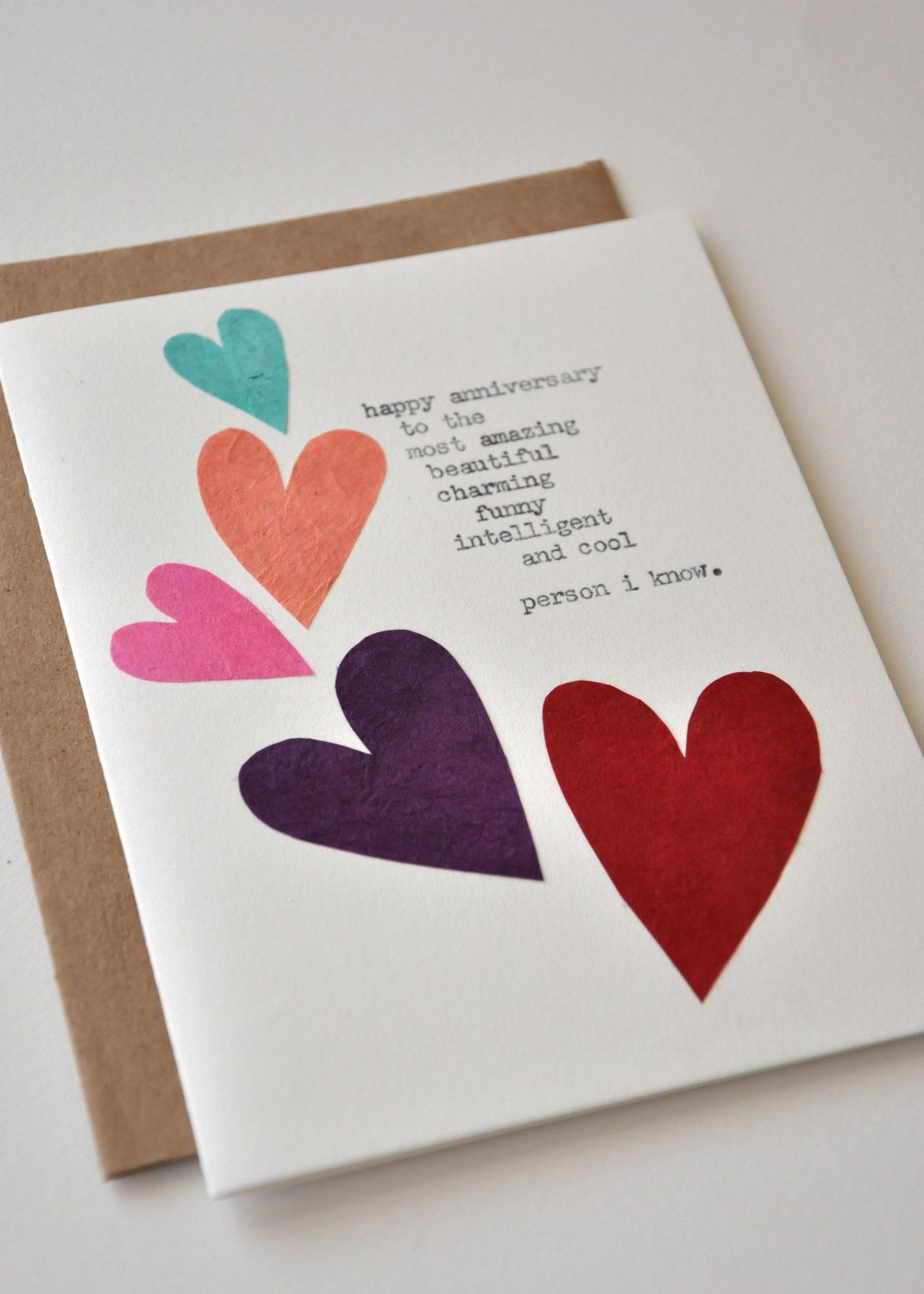 Handmade Birthday Cards For Guys 18 ~ Handmade hearts birthday card for boyfriend or husband with lovely wording homemade