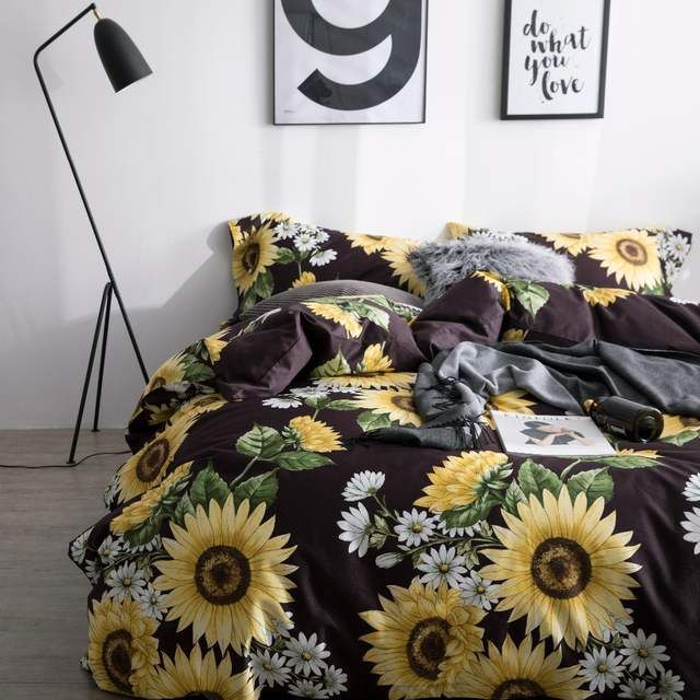Online Shop Sunflower Bedding Set Luxury Bed Linen Set Luxury Quilt Cover Sheets Pillowcases 60s Egyptian Cot Bed Linens Luxury Bed Linen Sets Luxury Bedding
