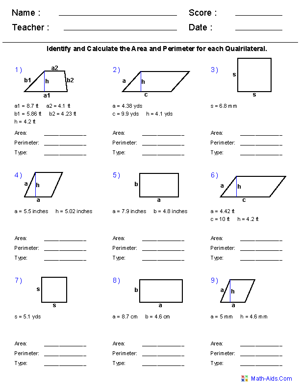 Printable Worksheets grade 2 perimeter worksheets : Area and Perimeter Worksheets | 5th grade (make your own ...