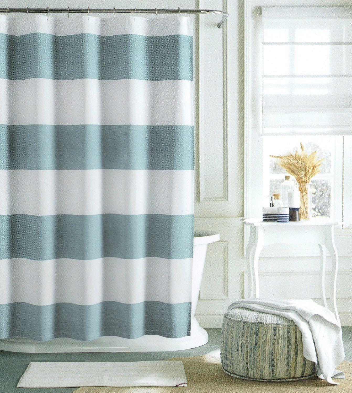 Tommy Hilfiger Shower Curtain Cabana Stripe 72 X Light Blue White