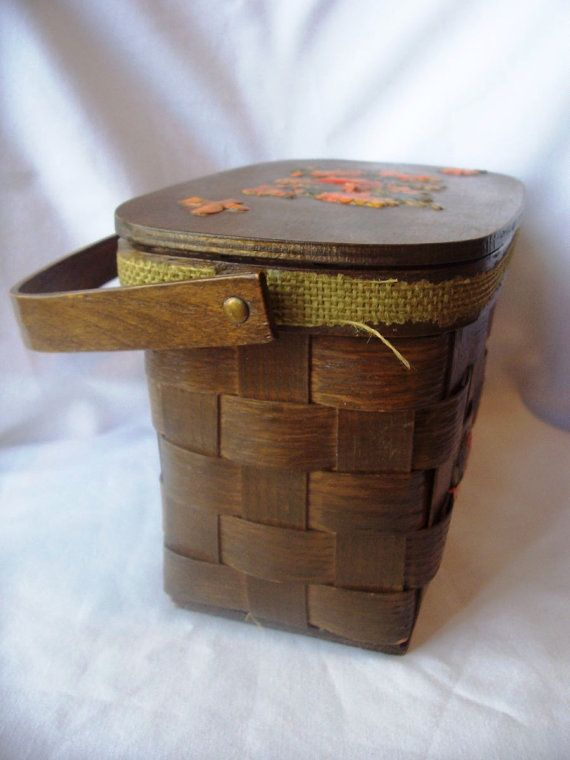Vintage Wooden Decoupage Woven Basket Weave Purse by IMustHaveThis, $34.00