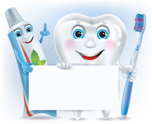 Cartoon cute tooth with toothpaste and toothbrush vector ...