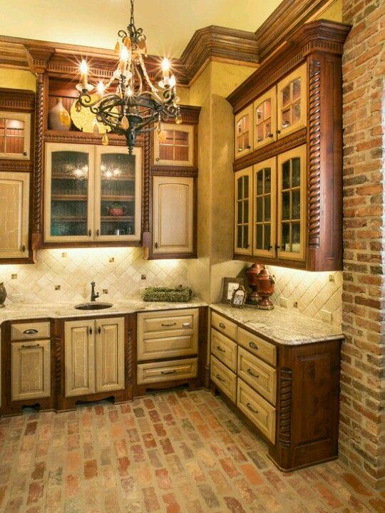 amusing cream kitchen cabinets | Cream and walnut cabinets, stone floor, tile backsplash ...
