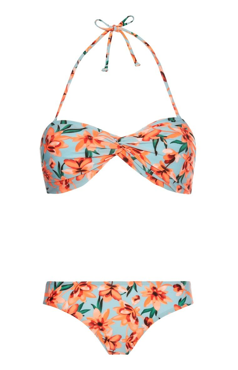 f38854eb6f Primark - Blue Coral Floral Print Twist Bikini Set i'm obsessed with this  bikini i love it! shame i don't have the confidence for it