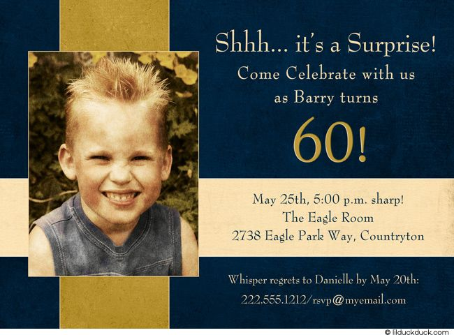 navy man s surprise invitation 60th birthday party gold event