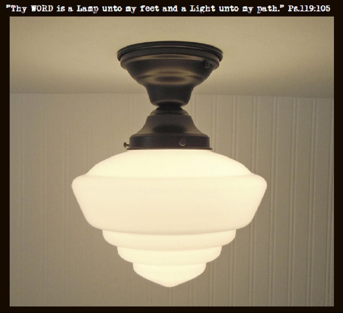 Windham Milk Glass Schoolhouse Ceiling Light Fixture Flush Mount For Garage Entry And Short Hall By Master With Images Ceiling Lights