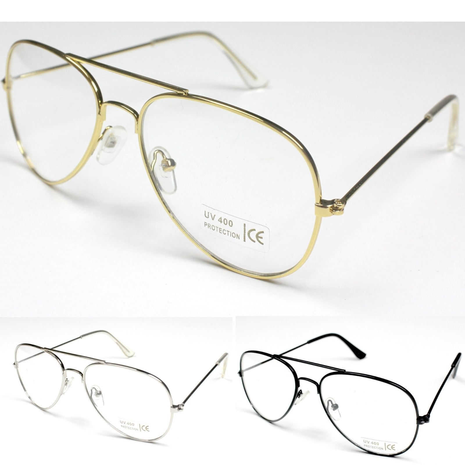 Classic Pilot Tear Drop Style Clear Lenses Glasses Frame