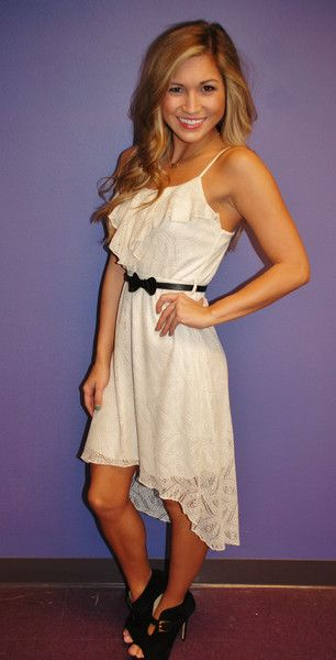 Brunch Time Glam Cream Lace High Low Belted Dress