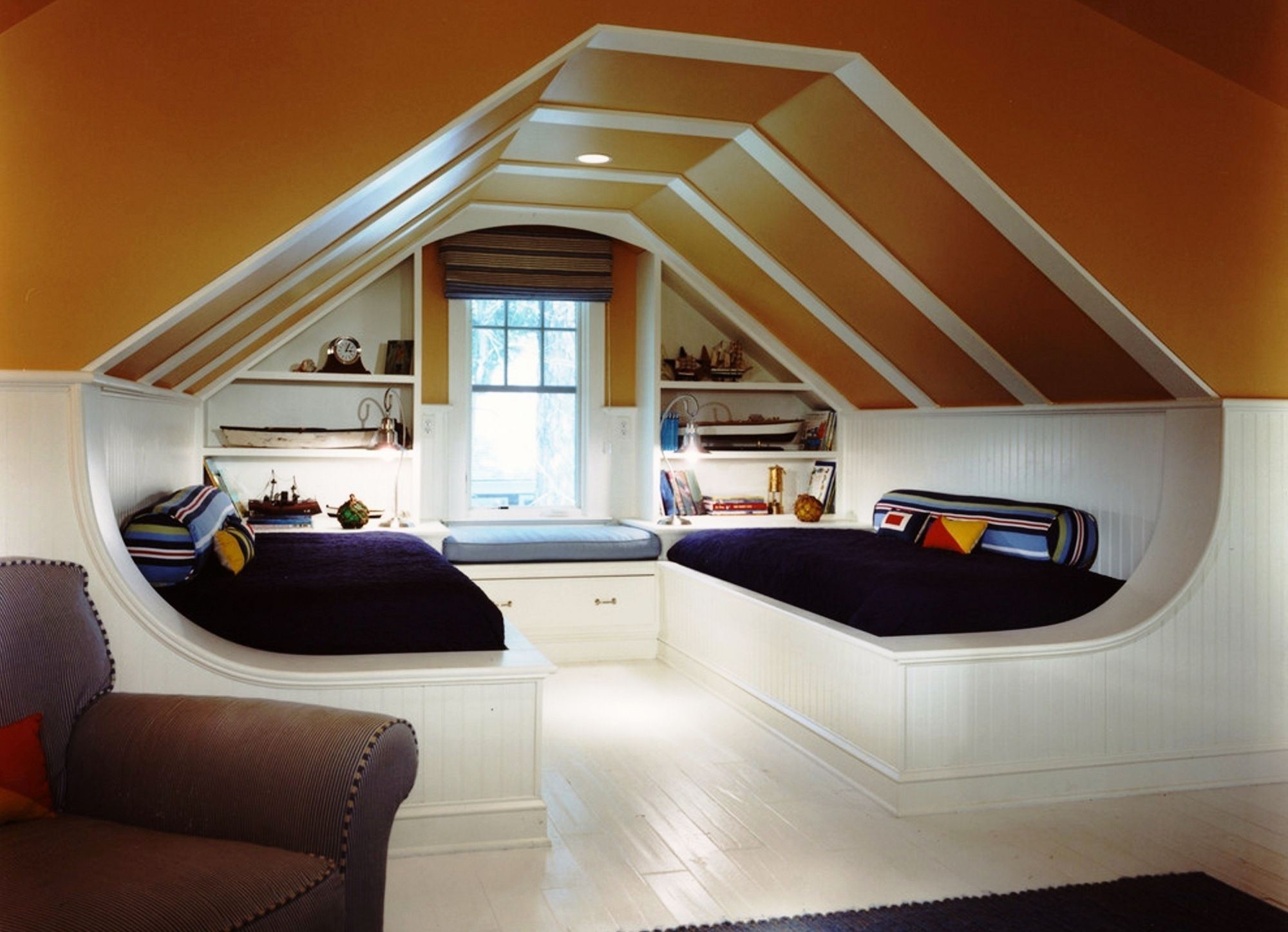 Ideas inspiration amusing guys attic bedroom double white bed frame built shelves brown painted sloped ceiling