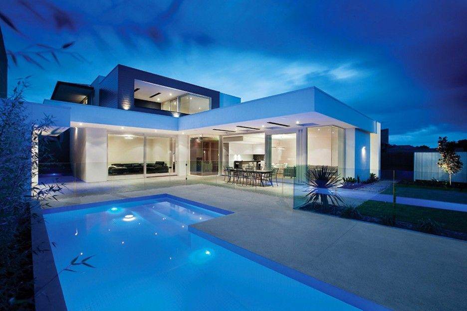Outstanding Homes With L Shape Swimming Pool Design Also White