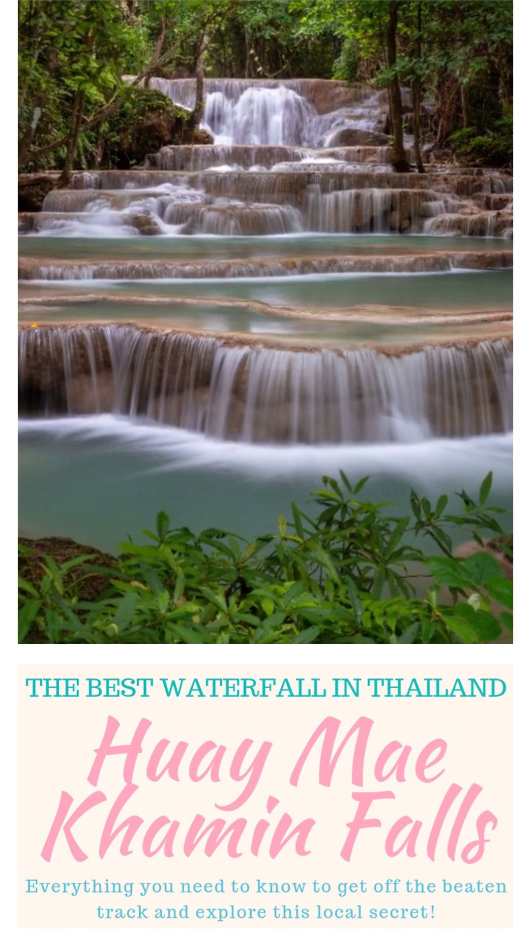 Huay Mae Khamin Waterfall is a local secret and hidden gem. Seven tiers of cascading beauty are nestled amidst a jungle landscape that makes this a must-see destination on any Thailand itinerary! This complete travel guide has everything you need to know to plan your adventure to Huai Mae Khamin Falls.