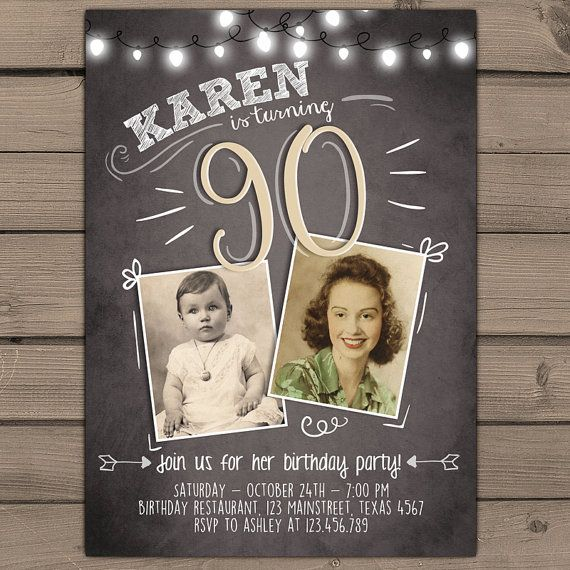 90th Birthday Invitation Vintage Birthday Invite Chalkboard