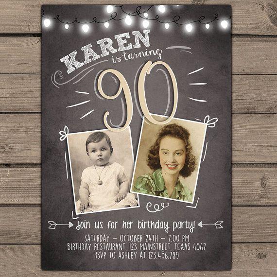 90th birthday invitation Vintage birthday invite