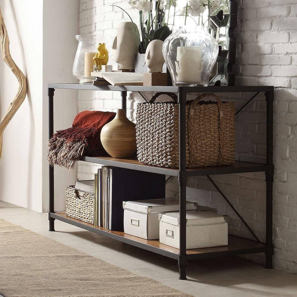 Addison Industrial Rustic Black Console Table