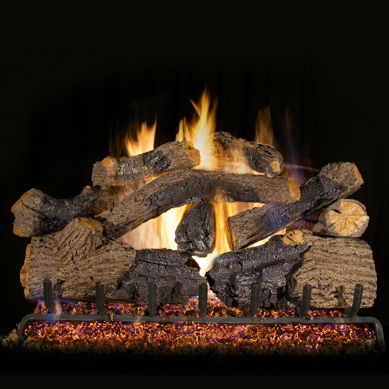 Peterson Real Fyre 30 Inch Charred Grizzly Oak Gas Log Set With Vented Natural Gas G4 Burner Variable Flame Remote Gas Logs Vented Gas Fireplace Gas Fireplace Logs