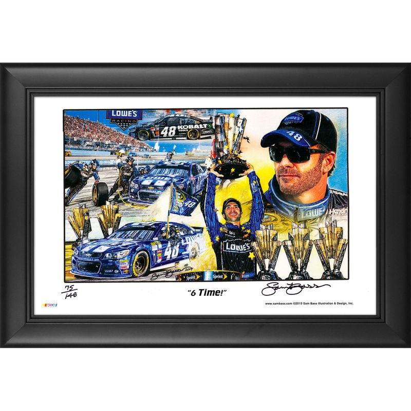 "Jimmie Johnson Fanatics Authentic Framed 11'' x 17'' ""6-Time"" Artist Autographed Sam Bass Print- Limited Edition or 148"