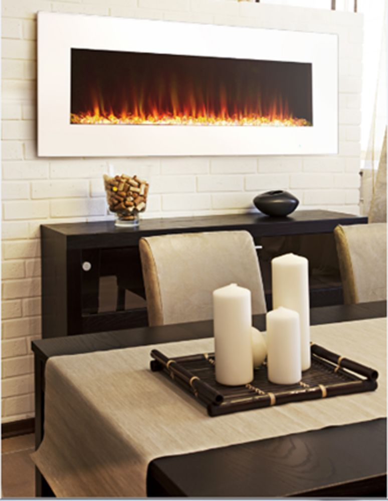 Premium 42 Inch Slim Wall Mount Electric Fireplace In White With