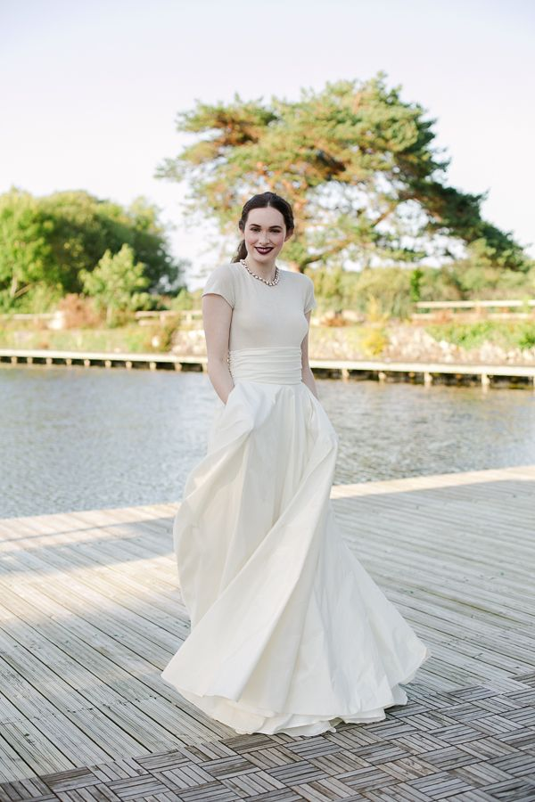 27a02852a39 Stunning two piece wedding dress. Cashmere sweater and full skirt from  Sharon Hoey Paula McManus