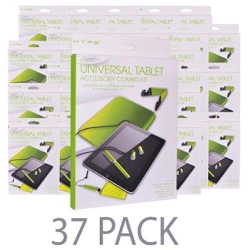 (37-Pack) Hype 6-in-1 Universal Tablet Accessory Combo Kit w/Neoprene Case Stand Stylus Earphones & More! (Green)
