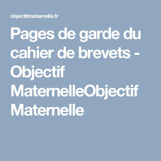 Pages De Garde Du Cahier De Brevets