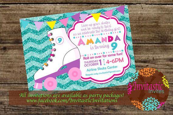 Roller Skating Birthday Party Invitation Girls Glitter