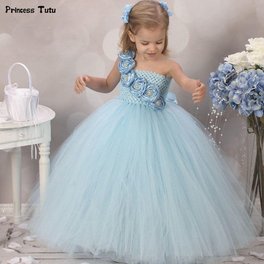 Elegant Cute Flower Girl Dresses Tulle Tutu Dress Baby Kids Pageant ...