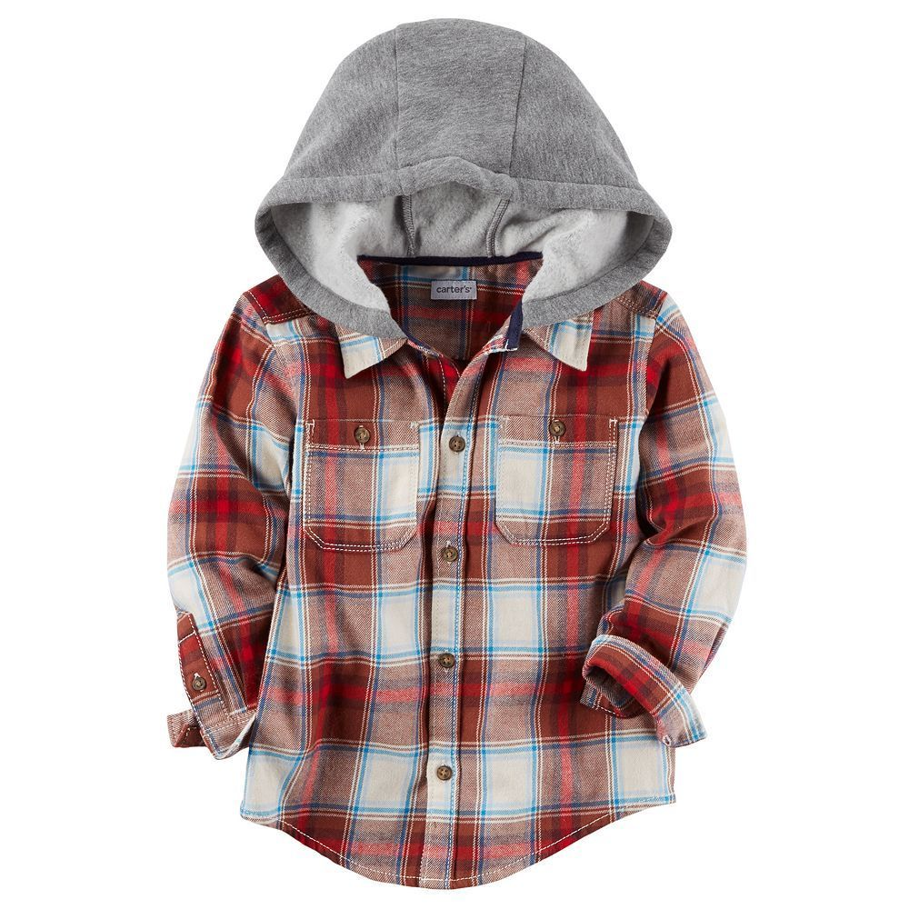 Red plaid flannel jacket  Toddler Boy Carterus Plaid Hooded Button Down Shirt Size T Red