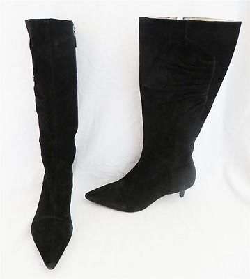 Talbots Jazmin Black Suede Side Ruched Pointed Toe Kitten Heel Boots Size 8b Kitten Heel Boots Boots Shoe Boots