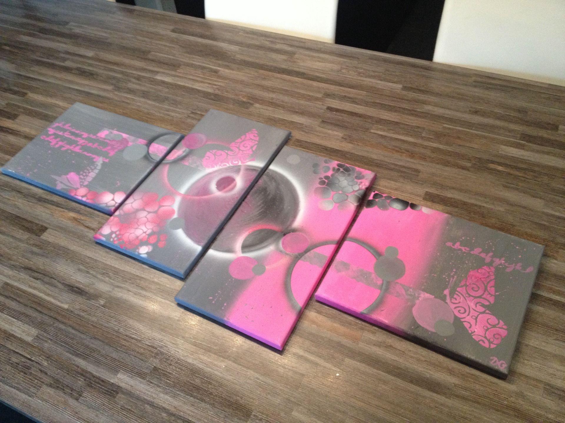 Tableau fluo fluo peinture style abstrait color format - Tableau couleur flashy ...