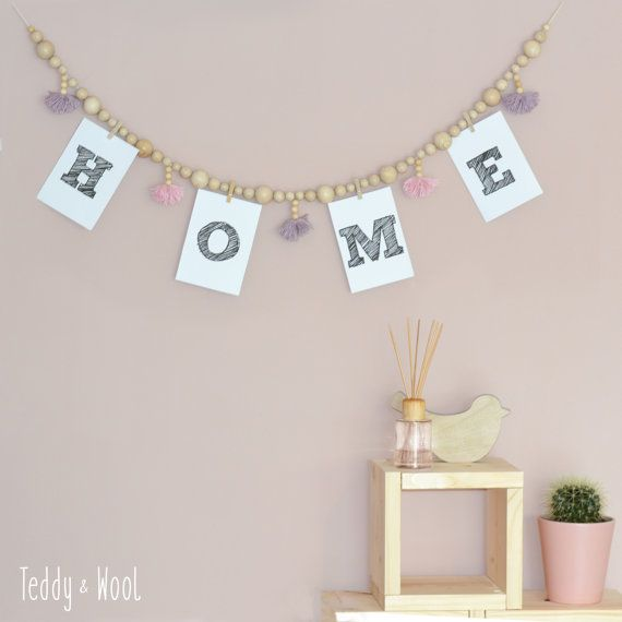 Wooden beads garland with pompoms. Nursery or by TeddyandWool