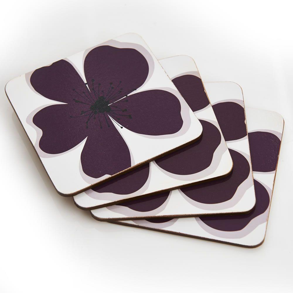Wilko Table Coasters Set Purple Meadow X 4 At Wilko.com