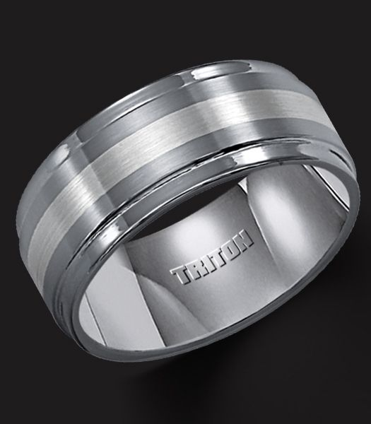 dac3d2679f3a3 Tungsten carbide TC.850 comfort fit wedding band with platinum inlay ...