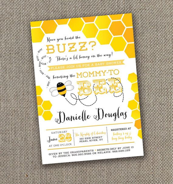 Mother To Bee Baby Shower Invitation DIY Gender Neutral Invite Mom
