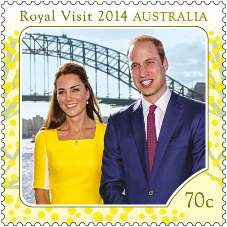 anythingandeverythingroyals:  The Australian Post has celebrated the recent visit by the Cambridge Family with two postage stamps-here, the Duke and Duchess of Cambridge in Sydney