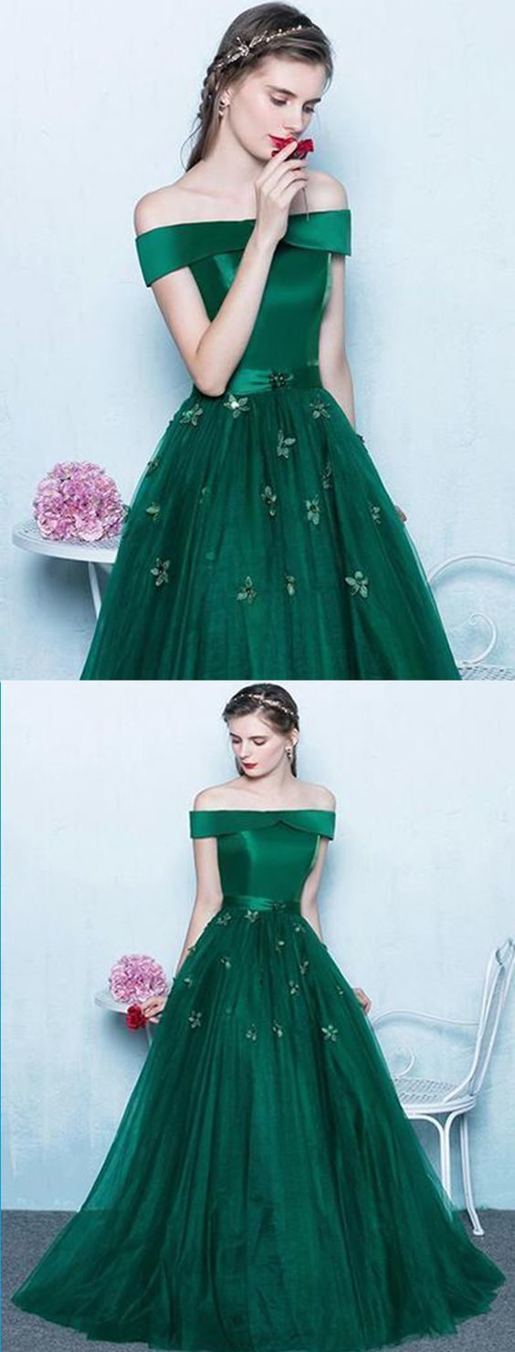 Deep green tulle off shoulder prom dress long evening dresscheap