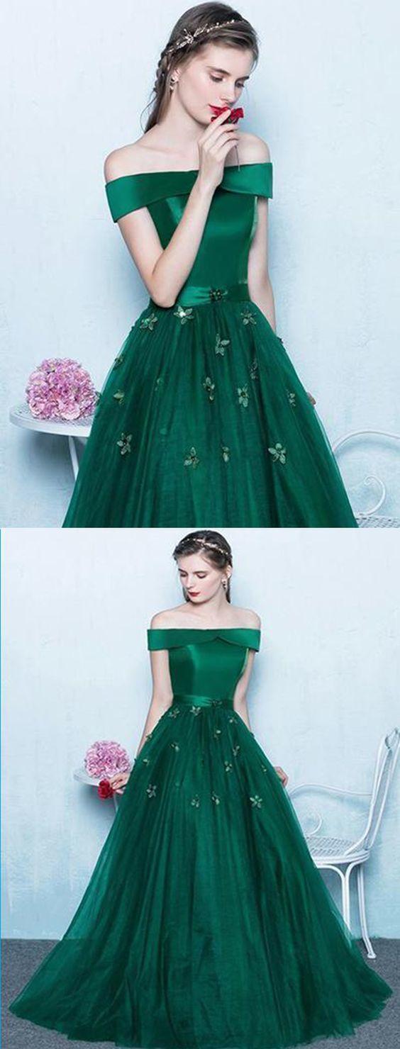 Deep green tulle off shoulder prom dress long evening dresscheap