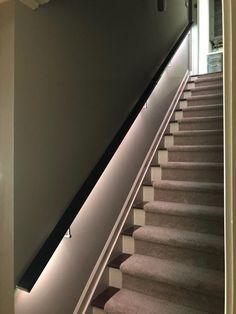 LED Square Flat Wall Mount Modern Stair Hand Rail Staircase Railing Kit - Aluminium