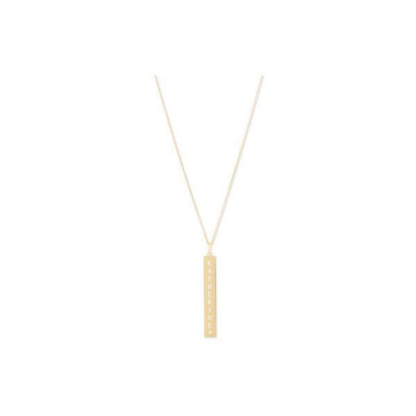 Sarah Chloe Leigh Engraved Vertical Bar Pendant Necklace with Diamond zrNnAXWz7o