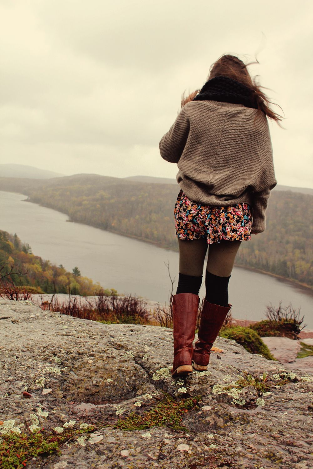 Cozy sweater floral dress riding boots kneehigh socks dps