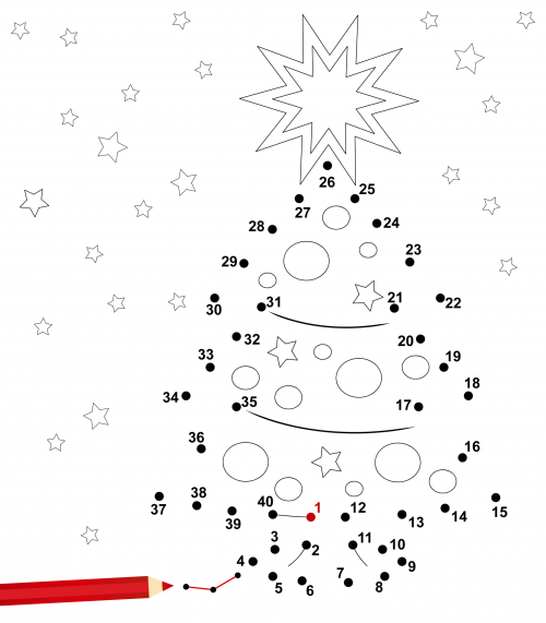 dot to dot christmas tree free printable christmas tree and activities. Black Bedroom Furniture Sets. Home Design Ideas
