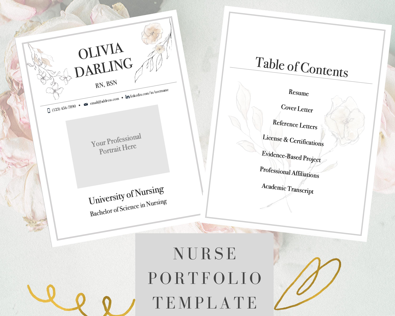 Nurse Portfolio Template, Floral, Registered Nurse